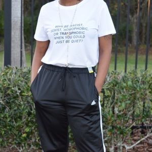 """Tops - Large White """"Be Quiet"""" Statement Tee"""
